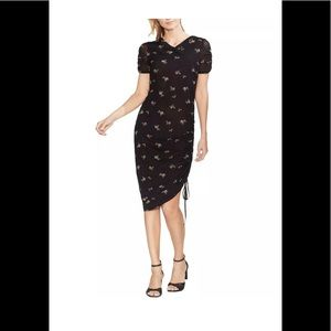 Vince Camuto Floral Ruched Casual Dress Black NWT